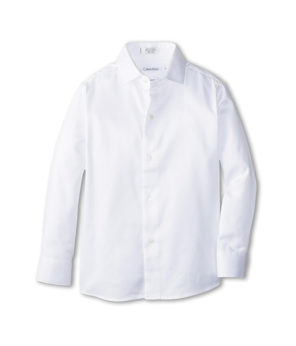 Calvin Klein Kids - Sateen Shirt (Little Kids) (White) Boys Long Sleeve Button Up