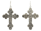 Gypsy SOULE Antiqued Cross Drop Earrings (Silver)