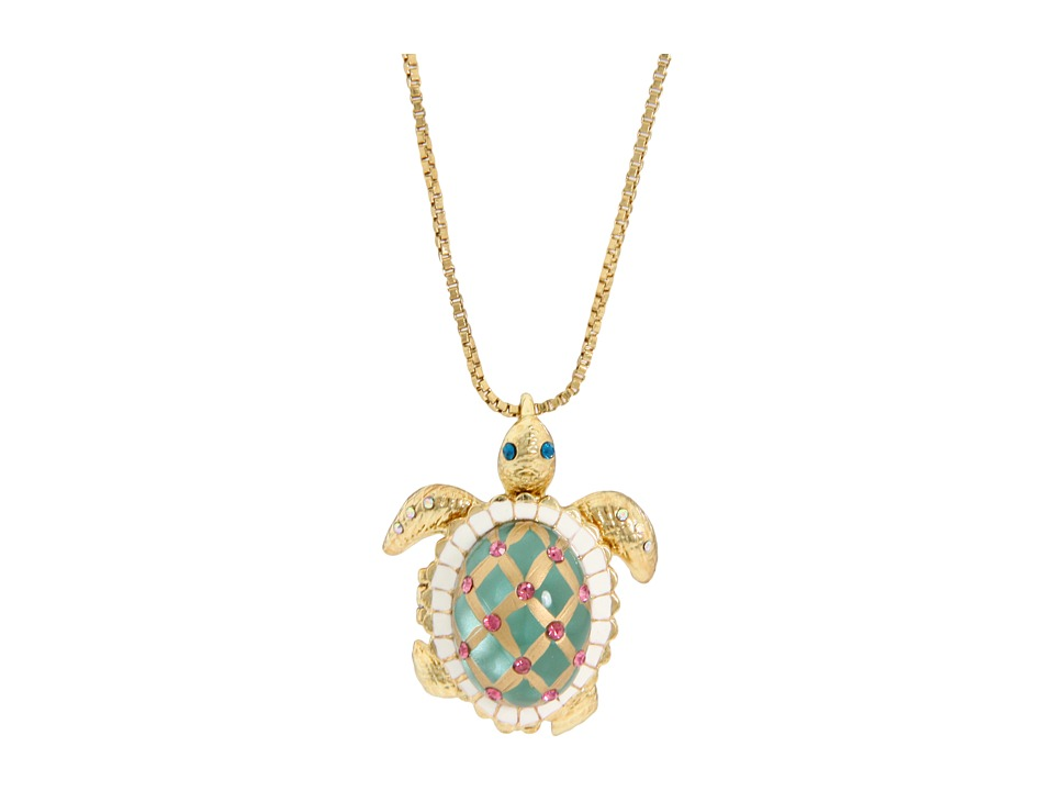 Betsey Johnson - Sea Excursion Long Necklace with Turtle Pendant (Green) Necklace