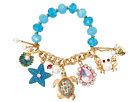 Betsey Johnson Sea Excursion Turtle Half-Stretch Bracelet Blue - 6pm.com