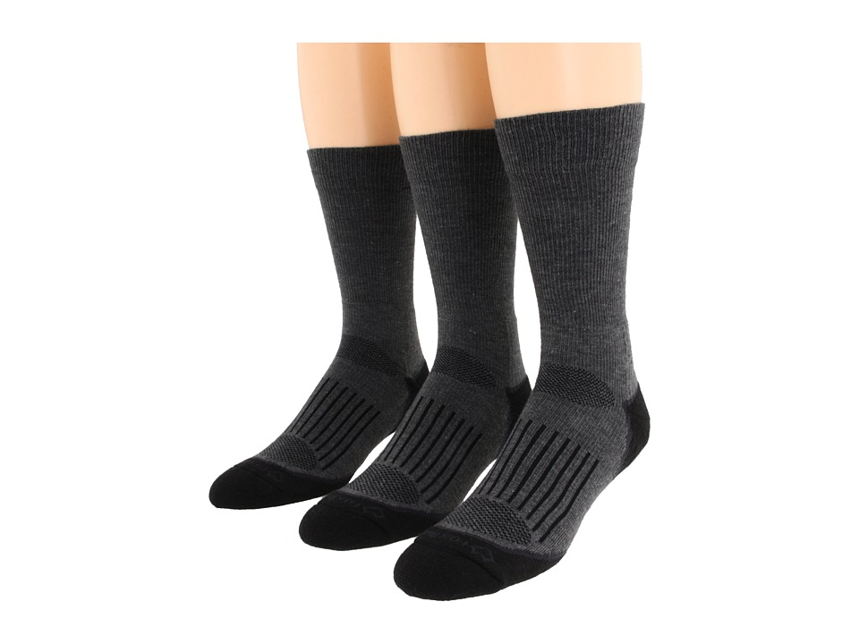 Fox River Trail Crew 3 Pair Pack Dark Grey Crew Cut Socks Shoes
