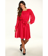 Calvin Klein - Smocked Chiffon Long Sleeve Dress