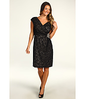 Eliza J - Cap Sleeve Lace Surplice Dress w/ Beaded Waist Patch