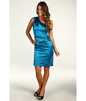 Maggy London - Solid Stretch Satin Asymmetrical Neck Dress