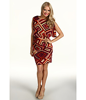 Eliza J - Printed Jersey Cold Shoulder Blouson Dress