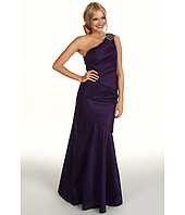 Eliza J - Beaded One-Shoulder Side Tucked Gown