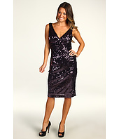 Eliza J - Sequin V-Neck Dress w/ Roush Waisted