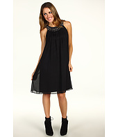 Eliza J - Sleeveless Chiffon Dress w/ Beaded Collar