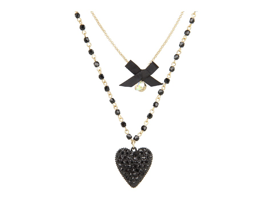 Betsey Johnson - Iconic Glitter Heart Two-Row Necklace (Black) Necklace