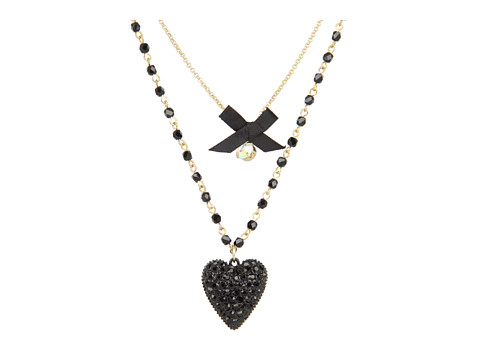 Betsey Johnson Iconic Glitter Heart Two-Row Necklace