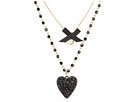Betsey Johnson Betsey Johnson Iconic Glitter Heart Two-Row Necklace