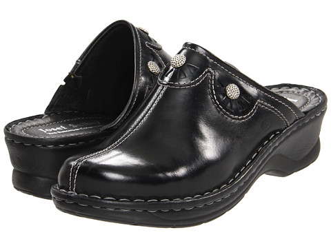 Shop Josef Seibel online and buy Josef Seibel Catalonia 23 Black Shoes - Josef Seibel Catalonia 23 Black Shoes: Please click for the Josef Seibel Shoes size guide. ; Basics don't have to be boring, and these Josef Seibel® shoes are anything but! ; Premium leather upper with decorative detailing and hardware embellishments. ; Slip-on design for quick and easy on and off. ; All leather interior features a padded footbed contoured for total support. ; Faux wood grain midsole and polyurethane outsole give stability and lightweight flexibility. ; Imported. Measurements: ; Heel Height: 2 in ; Weight: 9 oz ; Platform Height: 3 4 in ; Product measurements were taken using size 40 US Women's 8.5-9, width M. Please note that measurements may vary by size.