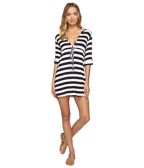 Lucy Love - Hooded Resort Dress (White/Navy) - Apparel