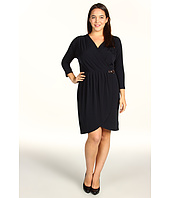 MICHAEL Michael Kors - 3/4 Sleeve Belted Gathered V-Neck Dress