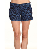 7 For All Mankind - Carlie Cut-Off Short in Blue & Navy Diamond Laser