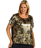 MICHAEL Michael Kors Plus - Plus Size Camo Sequined Boatneck Top