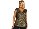 MICHAEL Michael Kors Plus - Plus Size Abstract Camo Cap Sleeve Top (Rich Olive) - Apparel