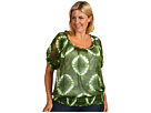 MICHAEL Michael Kors Plus - Plus Size Mission Tie Dye Crinkle Peasant Top (Vine) - Apparel