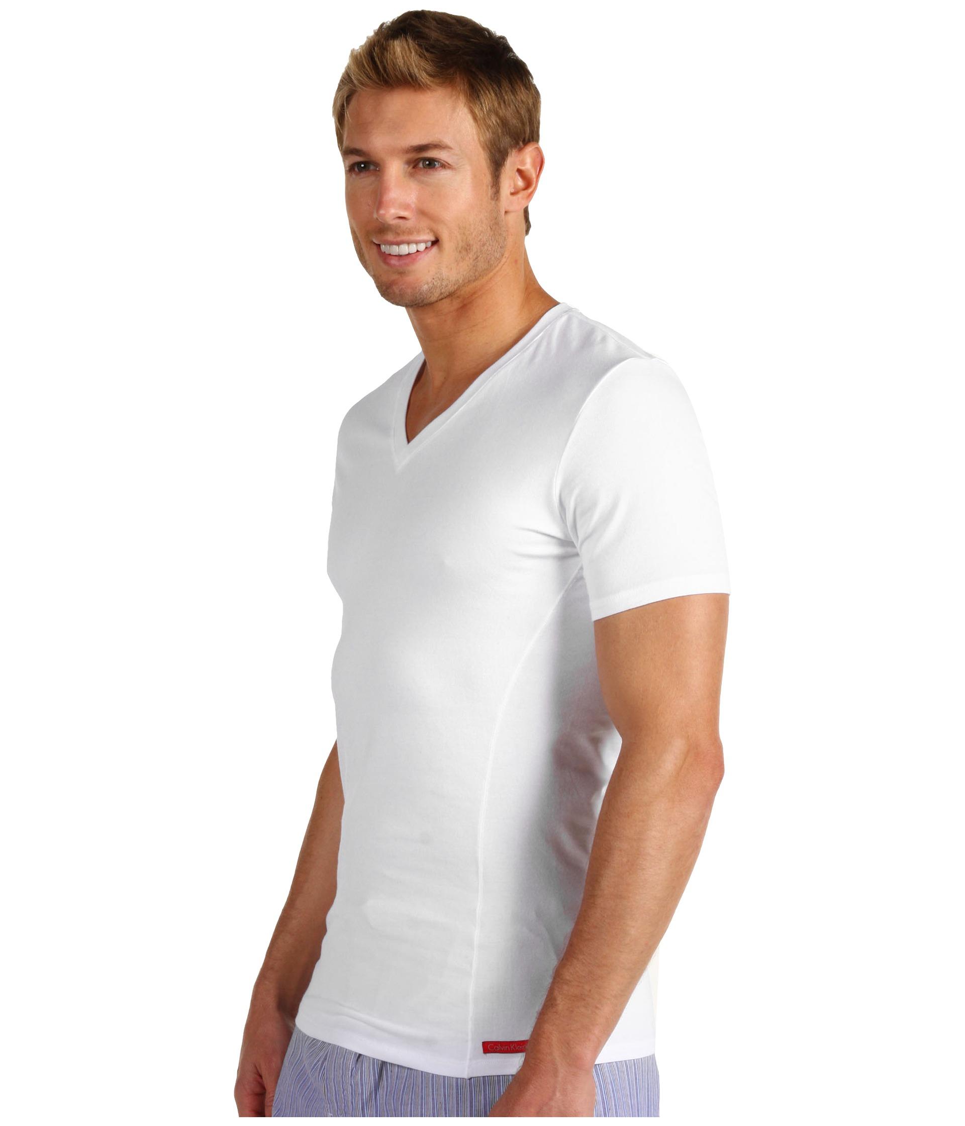 Calvin klein underwear pro stretch slim fit v neck u8608 for Calvin klein slim fit stretch shirt