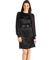 Anne Klein - Jewel Neck Pleated Sleeve Dress
