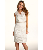 Donna Morgan - Seamed Sheath Dress with Sheer Top and Pleated Back