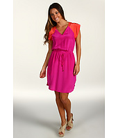 Donna Morgan - V-Neck Elastic Waist Dress w/ Combo Yoke/Cap Sleeve