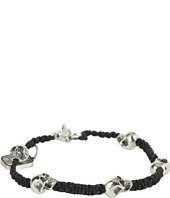 King Baby Studio - Black Macramé Linen Bracelet with Vertical Skulls