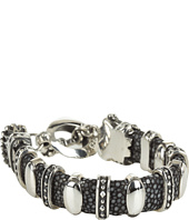 King Baby Studio - Black Stingray Bracelet with 11 Silver Links