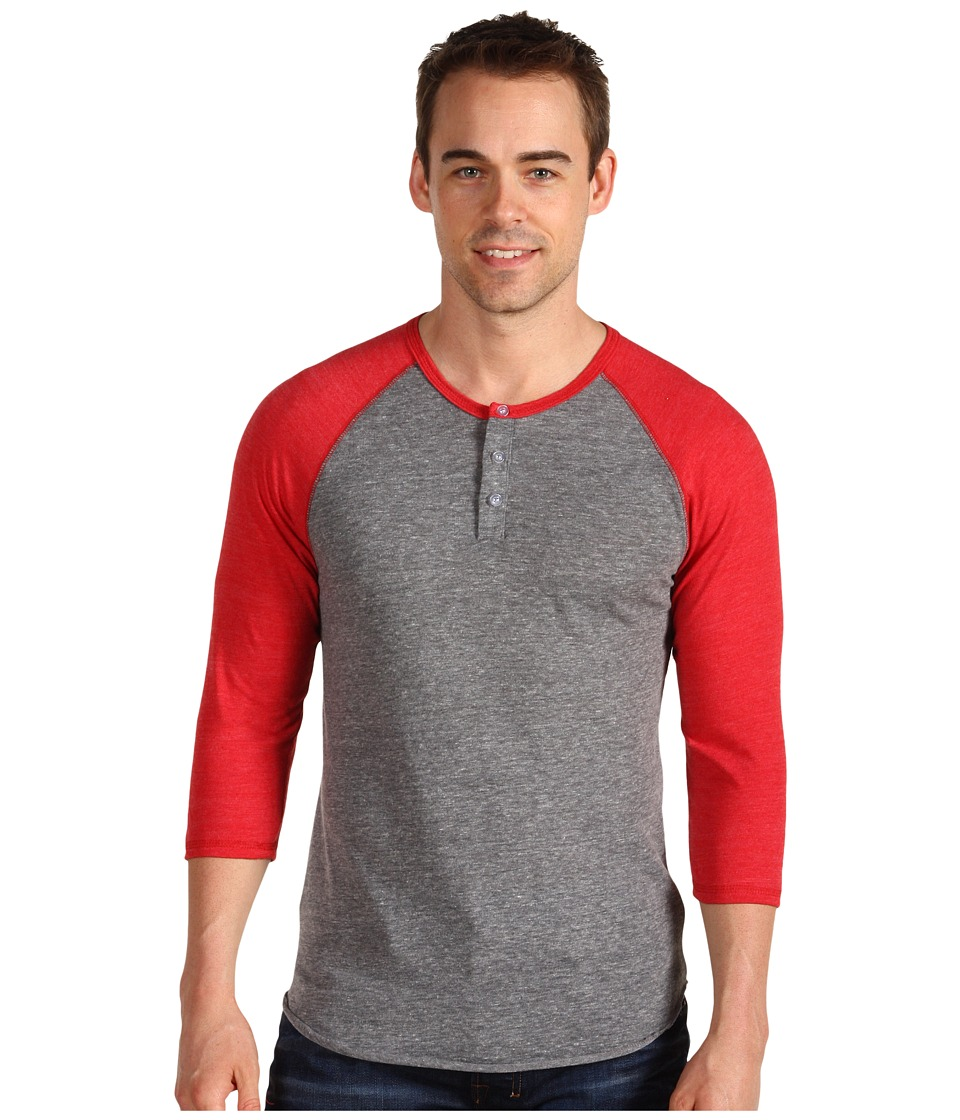 Alternative 3/4 Raglan Henley Eco Grey/True Red Mens Long Sleeve Pullover