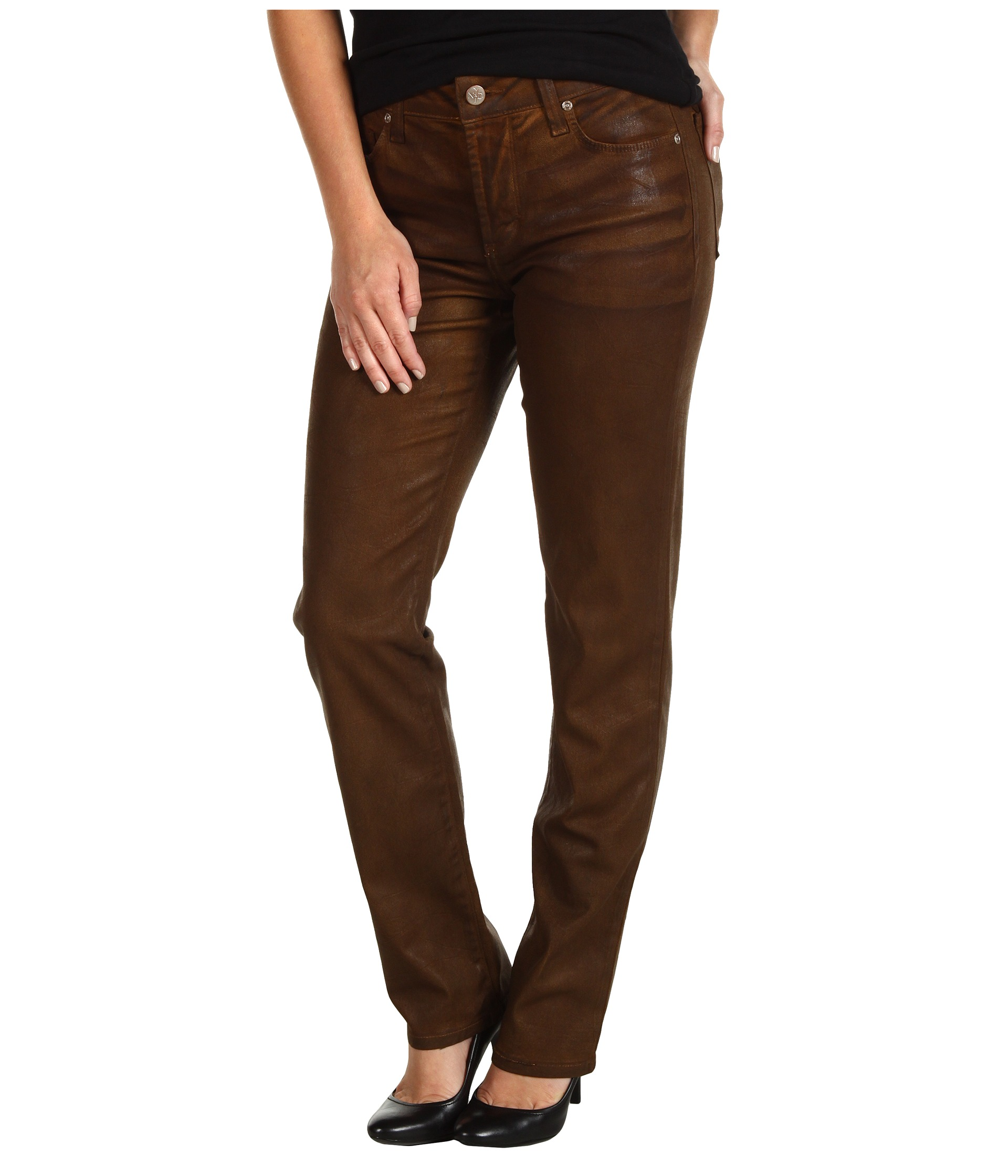 NYDJ Petite Petite Sheri Skinny in Terra Tan Coated Denim Terra
