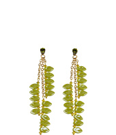 James Murray - Olive Swarovski Crystal and Ceramic Leaf Earrings