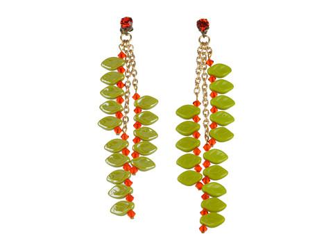 James Murray Hyacynth Swarovski Crystal and Ceramic Leaf Earrings