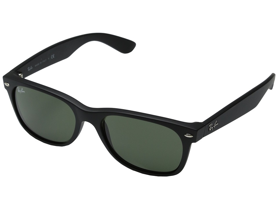 Ray-Ban RB2132 New Wayfarer 55mm (Black Rubber Frame/Green Lens) Fashion Sunglasses