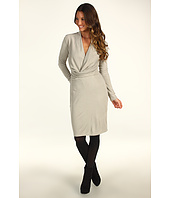 Halston Heritage - Long Sleeve V-Neck Draped Front Jersey Dress