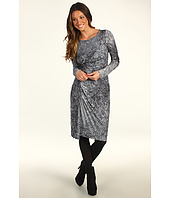 Halston Heritage - Long Sleeve Allover Pleated Dress in Winter Branches Print
