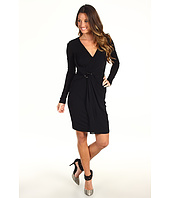 Halston Heritage - Long Sleeve Matte Jersey Wrap Dress with Waist Hardware