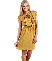 Donna Morgan - Front Flounce Elastic Waist Cap Sleeve Dress