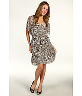 DKNYC - Lynx Print V-Neck Dress w/ Self Belt
