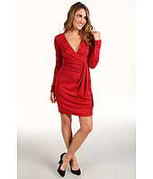 Halston Heritage - Long Sleeve Wrap Front Jersey Dress