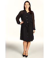 DKNYC - Plus Size L/S Roll Tab Dress