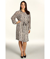 DKNYC - Plus Size Silky Tweed L/S Roll Tab Dress