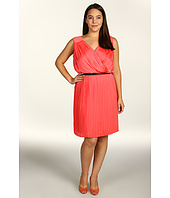 DKNYC - Plus Size Pleated Crossfront Dress