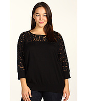 DKNYC - Plus Size Lace 3/4 Sleeve Boat Neck Sweater