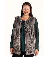 DKNYC - Plus Size Vest w/ Faux Leather Trim