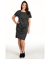 DKNYC - Plus Size Leopard Print S/S Dress w/ Side Ruching