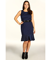 DKNYC - Plus Size Sleeveless Dress w/ Lightweight Satin Flounce