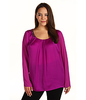 DKNYC - Plus Size L/S Shirt w/ Beaded Neckline