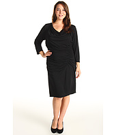 DKNYC - Plus Size 3/4 Sleeve Cowlneck Side Ruched Dress