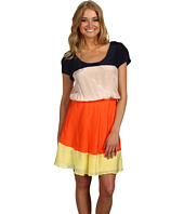 Julie Dillon - Short Sleeve Colorblock Dress W/ Cinched Waist