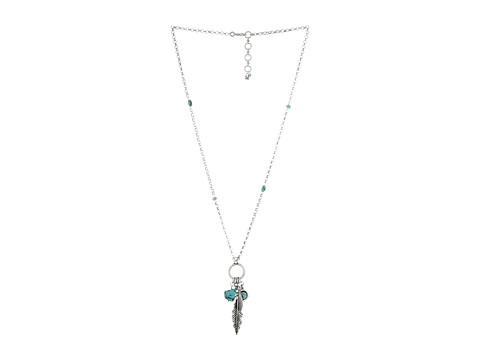 Lucky Brand Silver Feather Charm Necklace